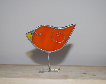 Spring 3D Stained Glass Orange Bird Chick with legs - Baby Bird  Home Decor Suncatcher 3Dimensional Wire Wings