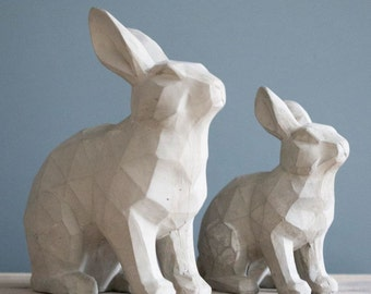 Grey Resin Rabbit Sculpture - Manufactured in Resin. CR00-RABBIT