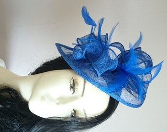 Royal Blue Teardrop Sinamay Fascinator With Feathers Weddings-Ascot-Races