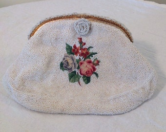C. M. Caron made in France beaded bag - vintage french beaded bag - vintage purse - vintage evening bag - bridal bag - french chic