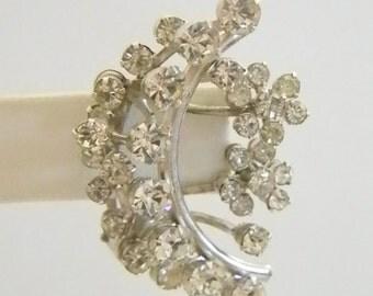 Vintage Large Silver Tone Clear Rhinestone Clip Earrings