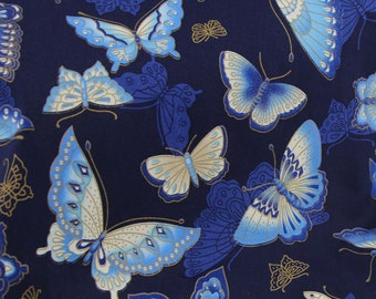 1/2 Yard Cotton Fabric/Butterfly Design Fabric/Patchwork Fabric /Quilted Fabric/Handmade Fabric/navy blue