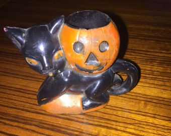 Vintage Rosbro black cat and jack-o-lantern candy container