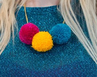 Bright Pom Pom Necklace
