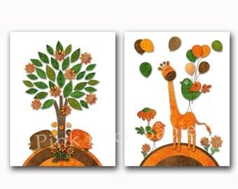 Neutral nursery art, baby girl wall art for nursery decor children wall art, children room decor, baby boy room decor, turtles giraffe decor