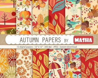 "Fall digital papers: "" AUTUMN DIGITAL PAPERS"" with autumn pattern, leaves pattern, fall flowers, owl pattern, 12 images, 300 dpi. jpg files"