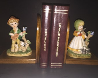 Wooden Bookends with  Figurines of Children making Music with Forrest Friends Bookends.