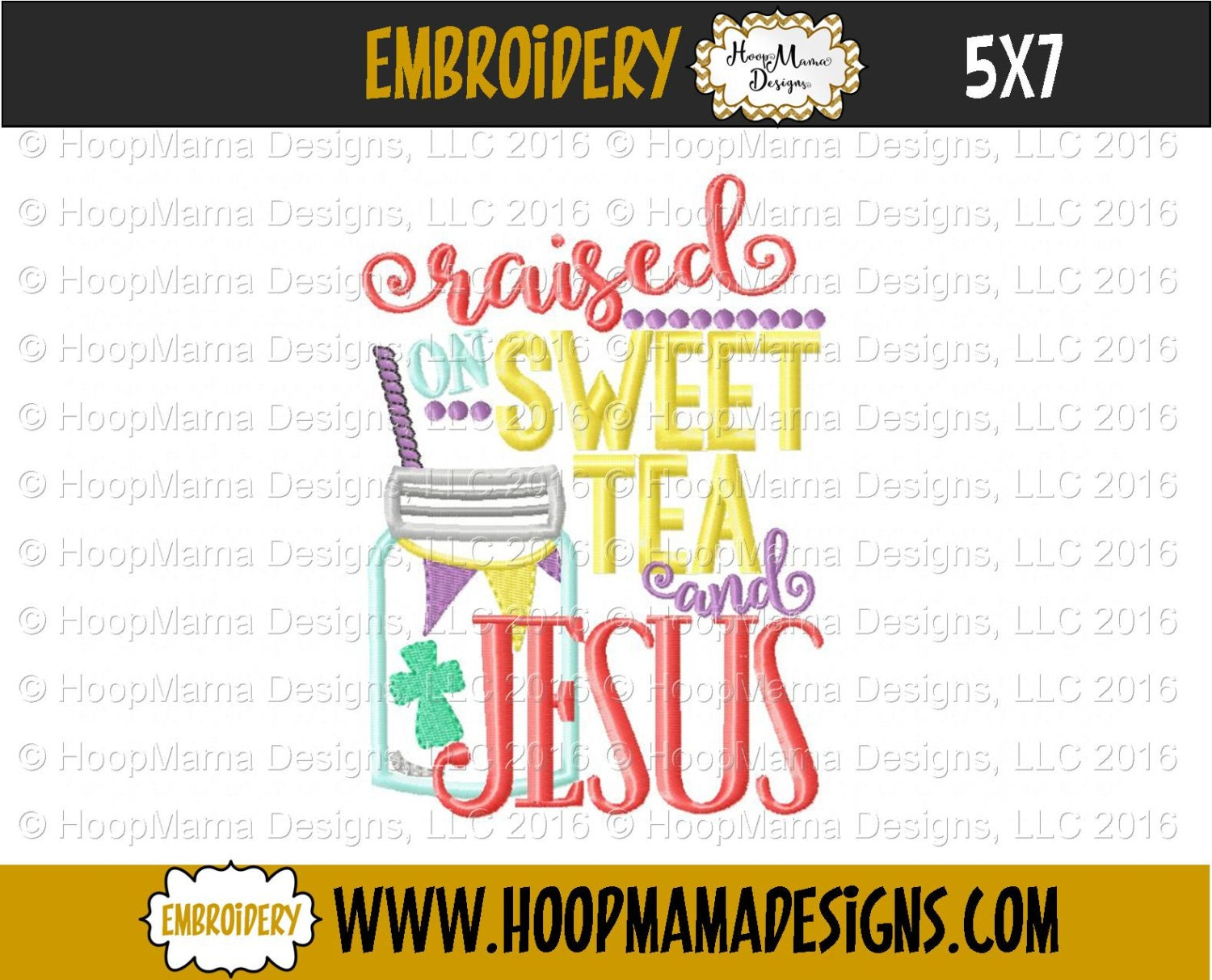 Embroidery designs for toilet paper - Raised On Sweet Tea And Jesus 4x4 5x7 6x10 Machine Embroidery Design Pes Jef Dst Hus Vip Vp3 Xxx Exp