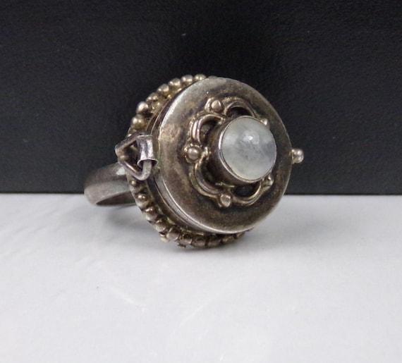 Moonstone Poison Box Ring
