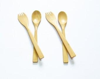 2 pairs. Tembusu Wood Flatware  Spoon & Fork Set Wood Carved : M166