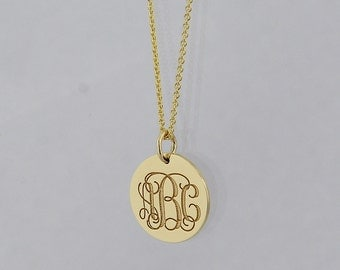3 Initial Monogram Tiny Round Disc Charm Pendant Necklace Deep Laser Engrave 10K, 14K Solid Gold 1/2 Inch GC06