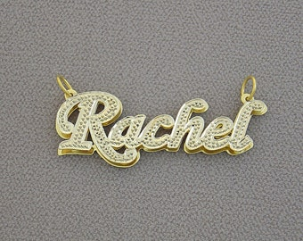 10K or 14K Solid Gold Double Plates Personalized Name Pendant Charm Necklace ND02X