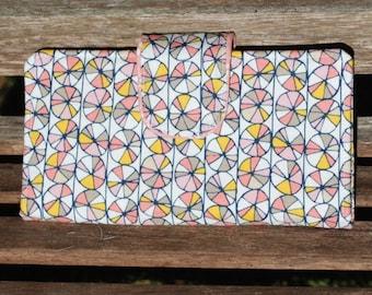 Organic Pink Pinwheels Bi-Fold Wallet, Clutch