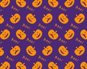 Halloween Boo Pumpkins on Purple Cotton Lycra Knit Jersey Fabric [SKU:MFR8FAB032]
