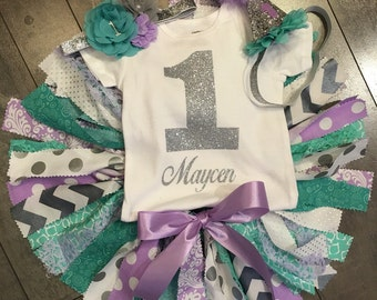 4 pc STUNNING mermaid inspired  lavender silver and seafoam green tutu first birthday photo outfit