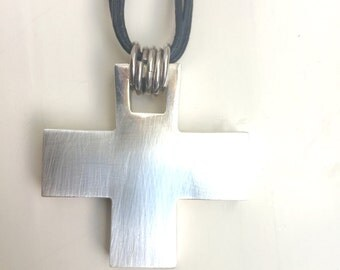 Mexican Sterling Silver Cross with Leather Cord Necklace
