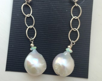 Reserved/Diana Outstanding Sterling Silver and Baroque Pearl Earring