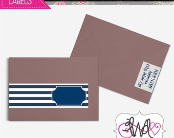 EDITABLE INSTANT DOWNLOAD: Navy and White Striped Wrap-Around Address Labels, Baby Shower, Birthday Party