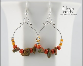 earrings,hooped dangle,brown,orange,seed beads.handmade memory wire beaded earrings,hooped earrings.female gift,memory wire dangle earrings