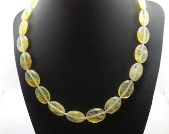 Handmade Oval Citrine beaded necklace.