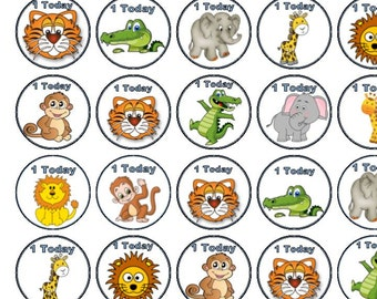 30 Assorted Safari Animals Premium Rice Paper Cup Cake Toppers