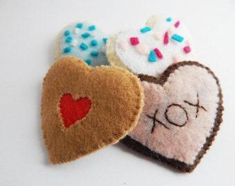 Felt Cookies toy food play groceries pretend food heart cookies