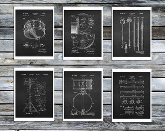 Drummer Gift for him, Drum Patent Prints Set of 6 Unframe art prints  Drummer Wall Decor, Percussion Instruments, Musician Gift Idea