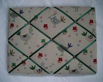 Memo Board,French Memo board, Fabric Memo board, Noticeboard,Organiser,Birds on Oatmeal  background, Linen effect/New Home,