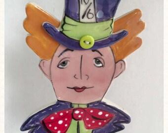Mad Hatter Alice in wonderland hanging ornament gift ceramic decoration