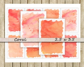Watercolor digital paper backgrounds printable tag ATC instant download pink coral orange peach for scrapbooks journals and craft