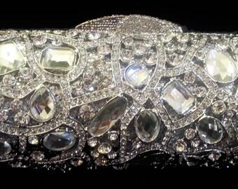 New Silver & Austrian Cluster Crystal Gems  -Hard Shell Clutch Evening Minaudiere Handbag