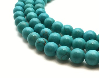 10mm Natural Turquoise Beads Round 10mm Turquoise 10mm Turquoise Beads 10mm Blue Beads 10mm Turquoise Mala Turquoise Blue Mala Blue