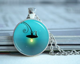 Fairy tale necklace,Street lamp necklace, glass dome photo pendant,children necklace ,picture jewelry,cabochon gift (XL105)