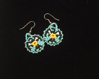 Vintage Native American Beaded Earrings On Leather Back