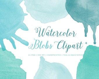 teal watercolor clipart, watercolor circle clipart, round watercolor clipart, watercolor logo clipart, watercolor blobs, watercolor circles