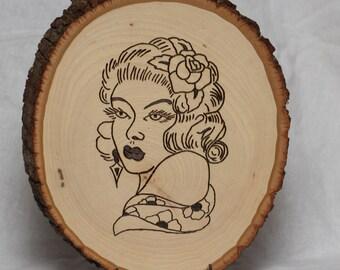 Woodburned Sailor Jerry Flash Art