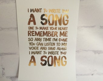 ONE DIRECTION Foil Lyric Art - I Want To Write You A Song Lyrics
