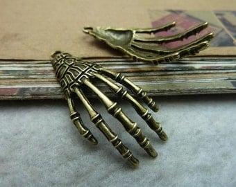 20 Skeleton Claw Hand Charm Antique Bronze Tone 3D Large Size  - DYS7367