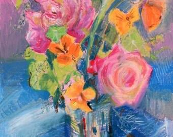 "Original oil pastel drawing ""Summer bouquet"""