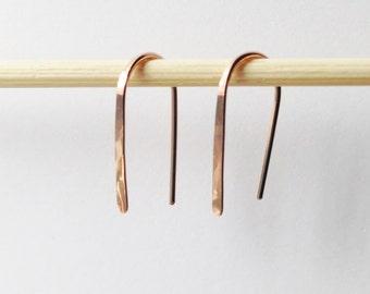 """Pair 3/4"""" Rose Gold Open Hoop Earrings, Lightweight Modern Minimalist Design, Simple Rose Gold Wire Hoops, Sleek Earrings, Delicate Elegant"""