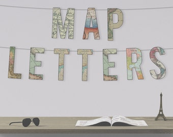Instant Downloadable Map Letters Bunting