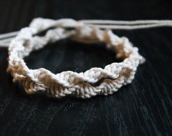 Spiral Hemp Macrame Anklet - Tie On