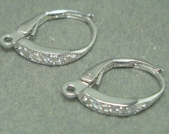 Sterling silver CZ leverback earring wires 1 pr