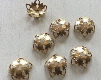 Raw brass gothic style bead caps 12 pc 8mm