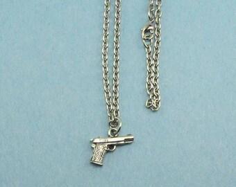 Gun Necklace - Handgun Necklace - Pistol Necklace - Pistol Charm - 1911 Style Pistol Necklace - Gun Charm - Gift For Her - Gift Under Ten