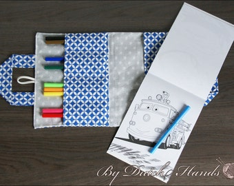 Crayon wallet for children - Blue and grey with stars