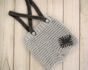 Grey baby shorts - Crochet shorts for baby, Size from Newborn to 12 Months, Great photography prop!