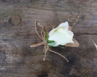 Rustic pale green boutonniere. Country/Barnyard/Vineyard
