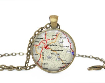 Charlotte North Carolina Map, North Carolina Map, Gift Comes as a necklace or keychain.