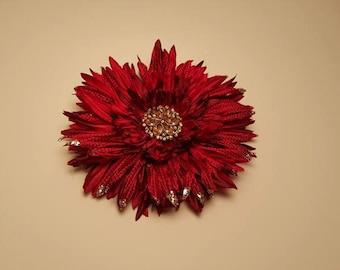 Red & Gold Daisy Flower Hair Clip